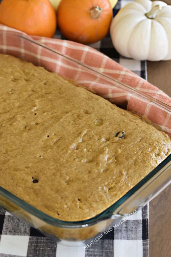 banana pumpkin cake in a glass baking dish