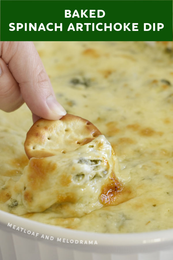 close up of cracker dipped into hot spinach artichoke dip with melted cheese