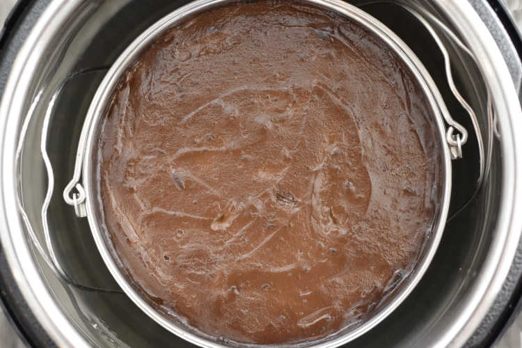 baked chocolate cheesecake inside the Instant Pot