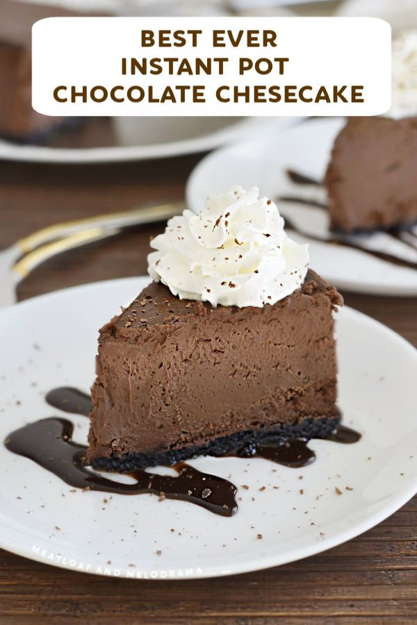 close up of instant pot chocolate cheesecake on a plate
