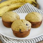 banana applesauce muffins with chocolate chips on a white plate