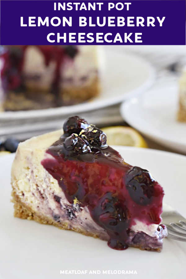 close up of slice of blueberry lemon cheesecake with blueberry topping