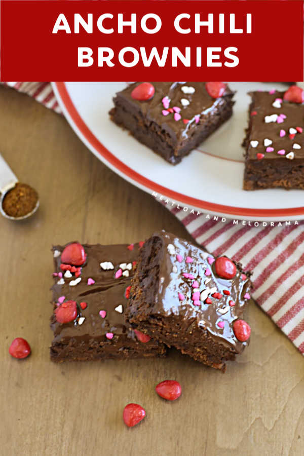 close up of chocolate glazed brownies with valentine candy
