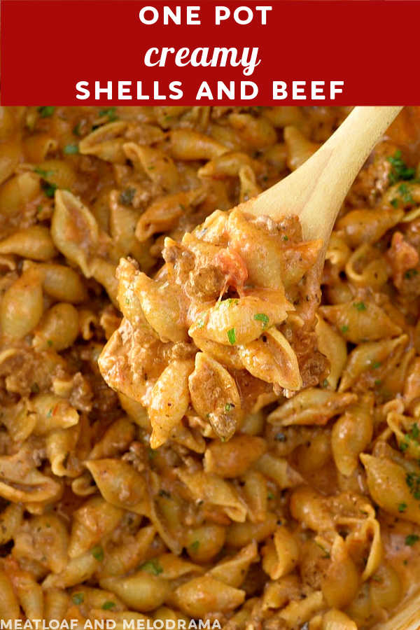 close up of pasta shells and ground beef on a spoon