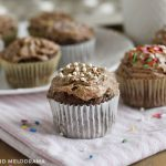 2 ingredient chocolate cupcakes with chocolate frosting and sprinkles