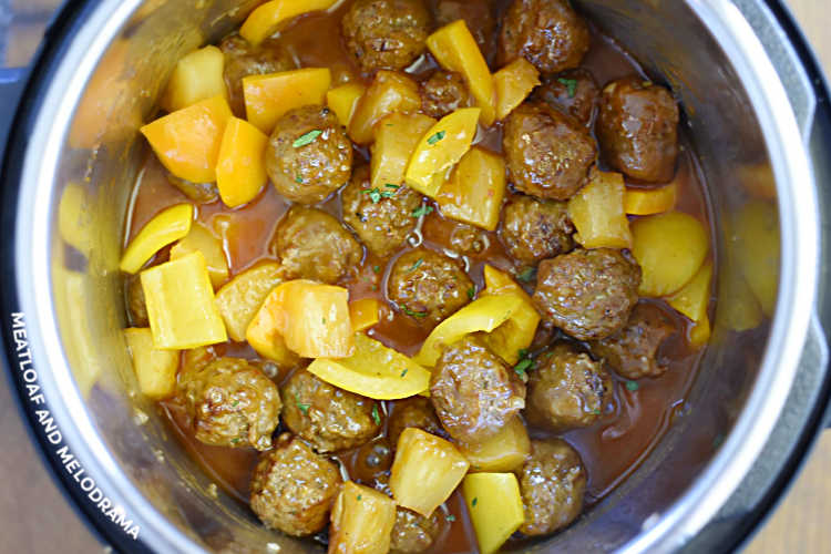 meatballs with pineapple and peppers in the pressure cooker