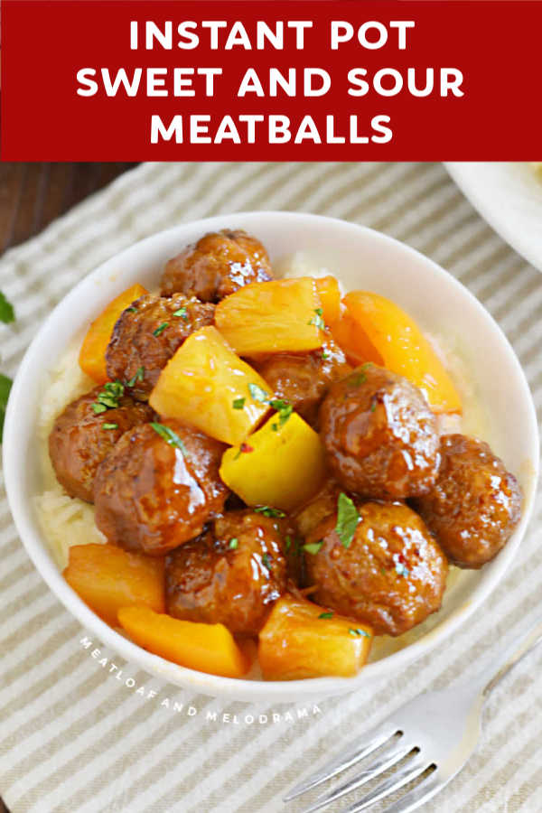 Instant Pot Sweet and Sour Meatballs with pineapple and peppers are super easy to make in the pressure cooker and perfect for a quick dinner or appetizer.