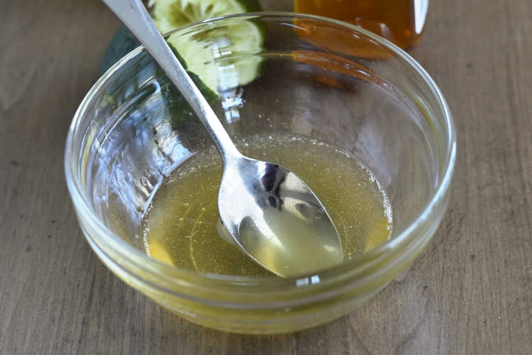 honey lime dressing in small mixing bowl