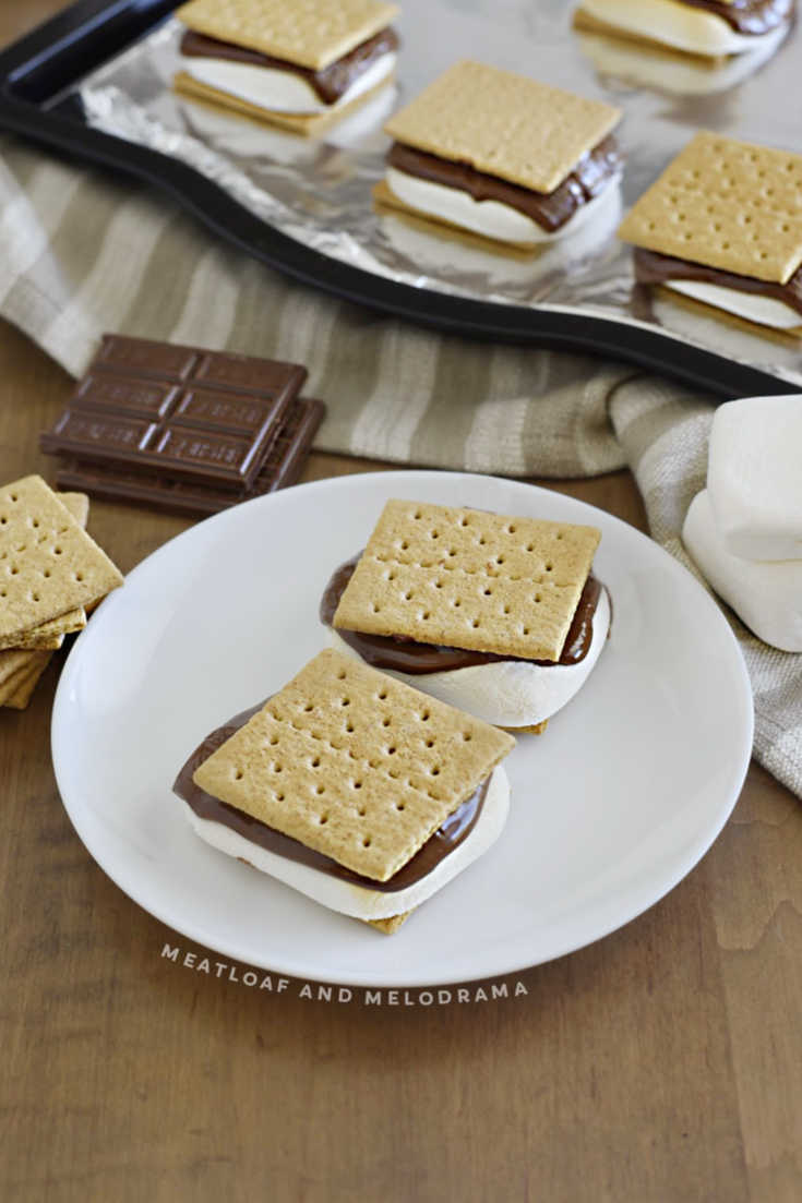2 s'mores on a white plate