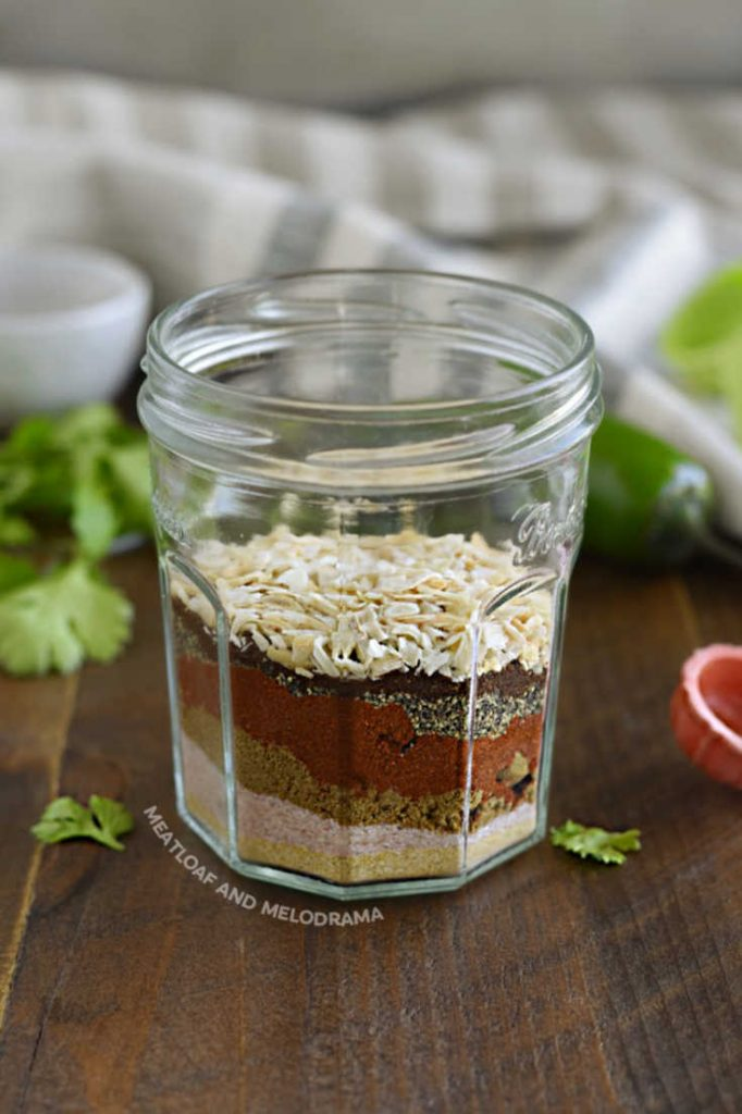 layered spices in a glass jar