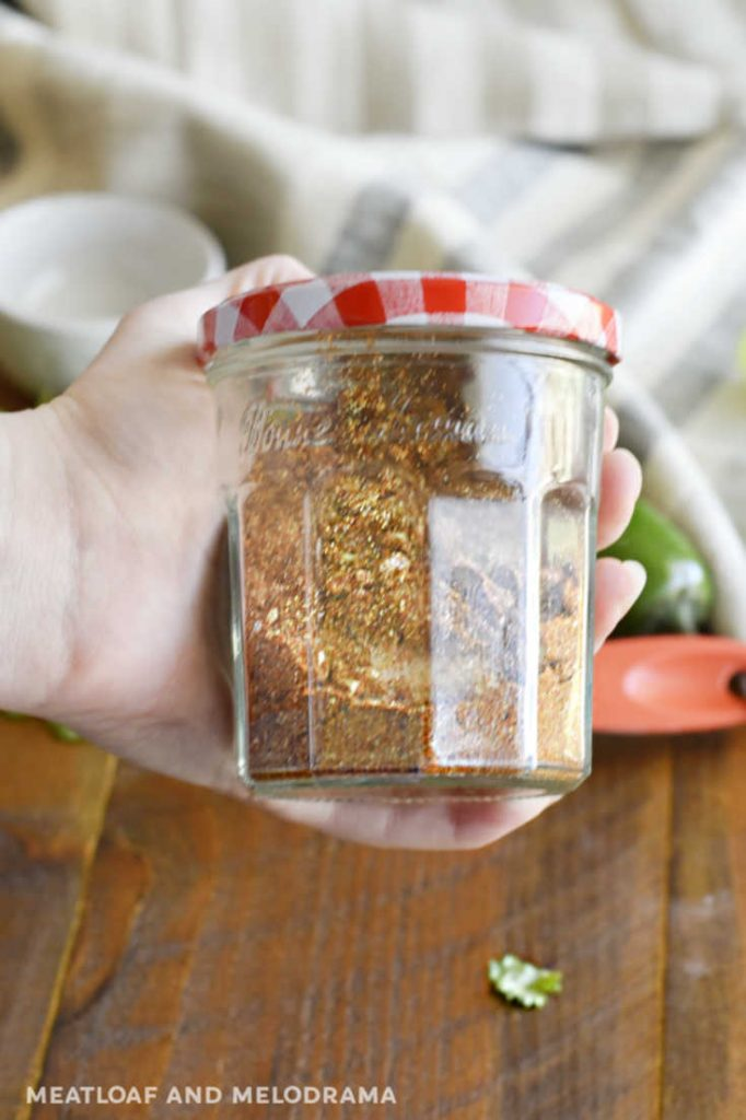 shake spices in glass jar to blend