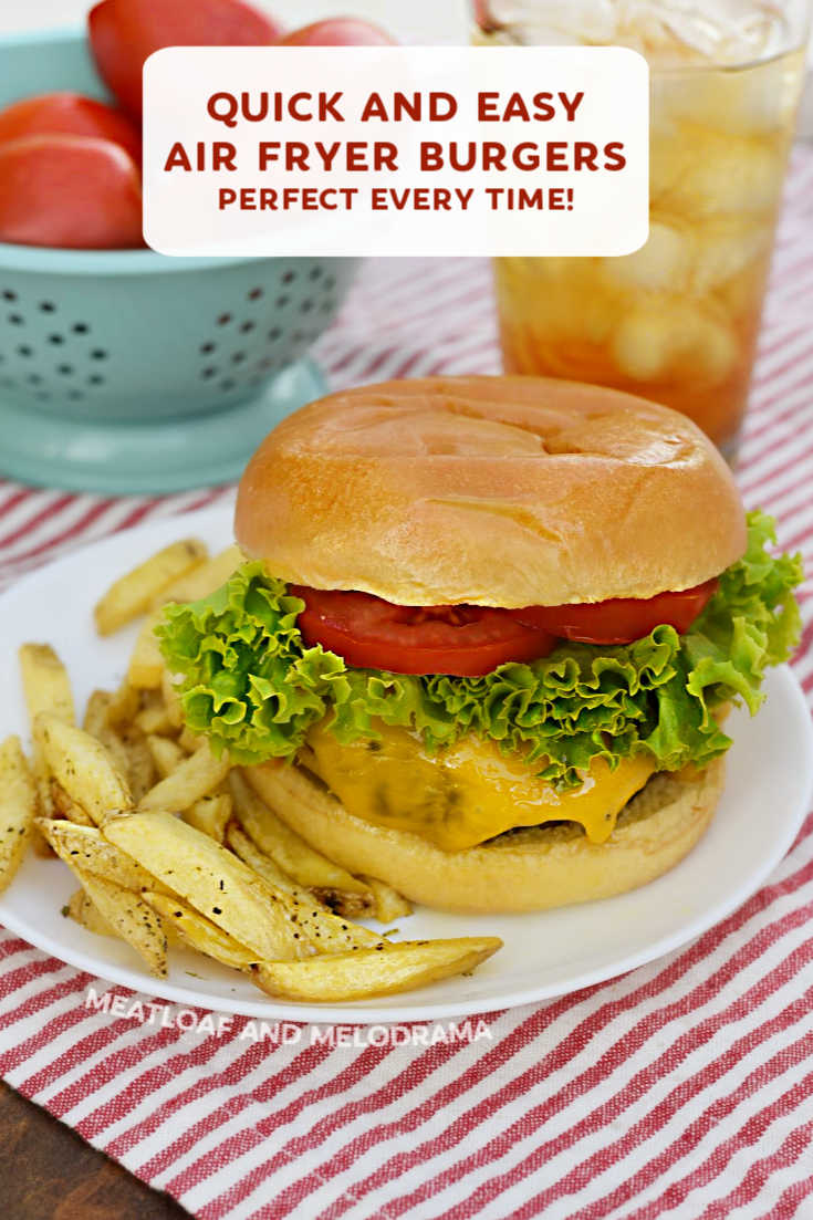 Air Fryer Hamburgers are flavorful, juicy and ready to eat in just 15 minutes! Make the best burgers in your air fryer with this quick and easy recipe!