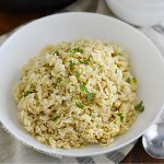 bowl of instant pot brown rice with parsley