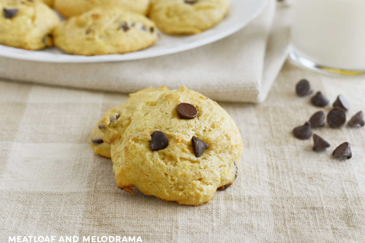 cake mix banana cookies with chocolate chips on the table