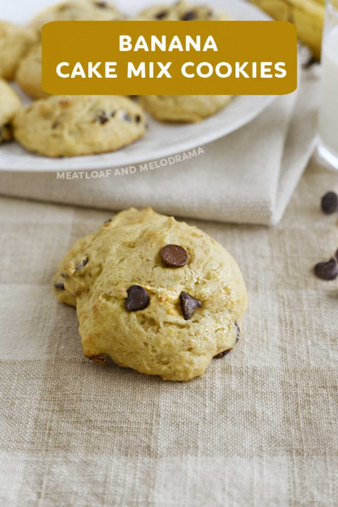 close up of banana cookie with chocolate chips