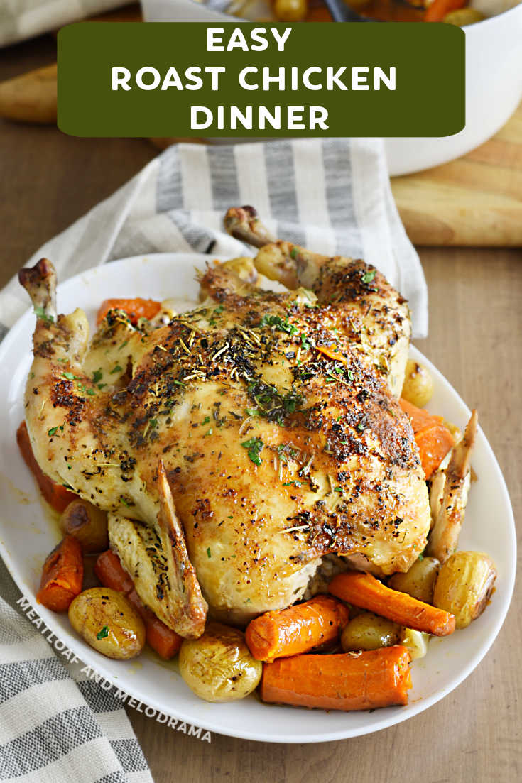 This Easy Roast Chicken Dinner with vegetables is perfectly cooked in a Dutch Oven for a simple, delicious one pot meal the whole family will love. This recipe makes roasted chicken with crispy skin and tender, juicy meat every time.