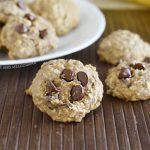 banana oatmeal cookies with chocolate chips on the table