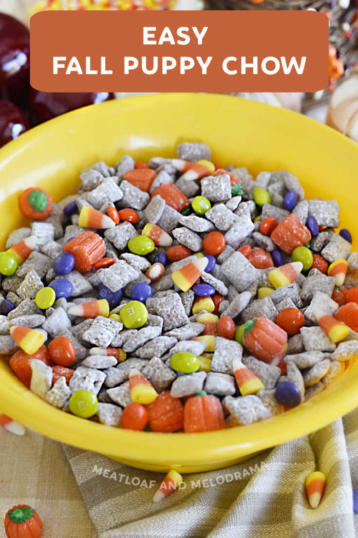 Easy Fall Puppy Chow Snack, or Muddy Buddies, is made with Chex cereal, peanut butter, chocolate and colorful fall and Halloween candies. Perfect for munching!