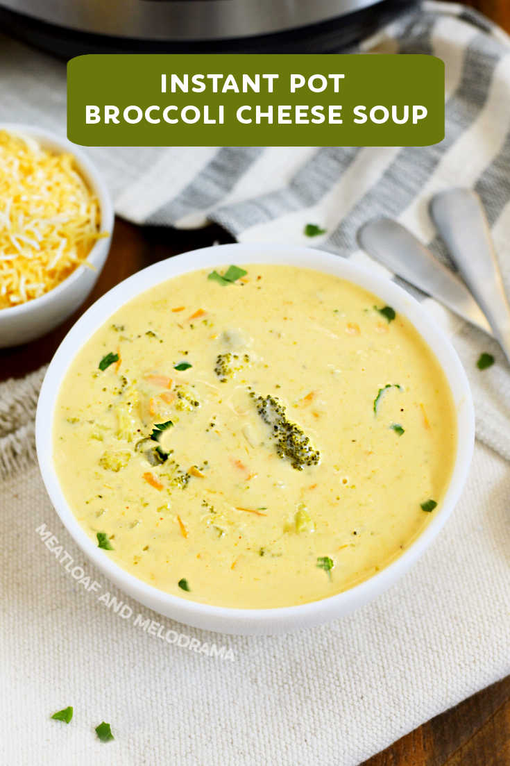 Instant Pot Broccoli Cheese Soup with cheddar cheese is creamy, thick and delicious. An easy soup recipe you can make in about 30 minutes.