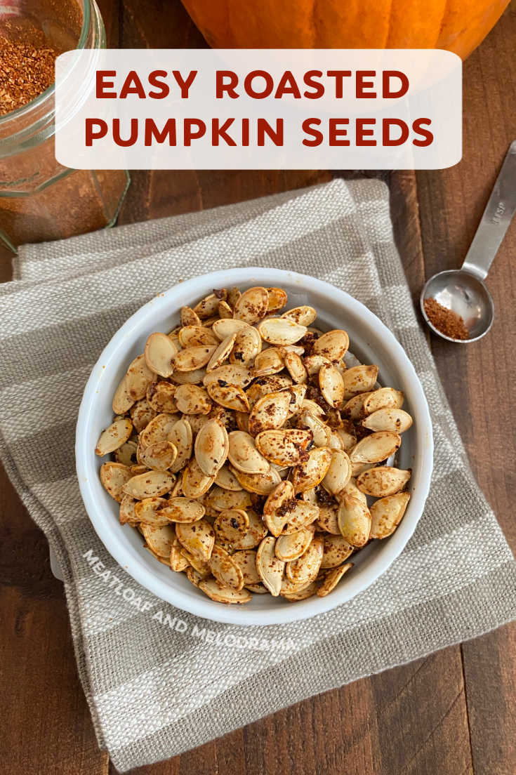 Learn how to make Spicy Roasted Pumpkin Seeds with your favorite seasoning or spice blend with this easy recipe. A quick and healthy snack!