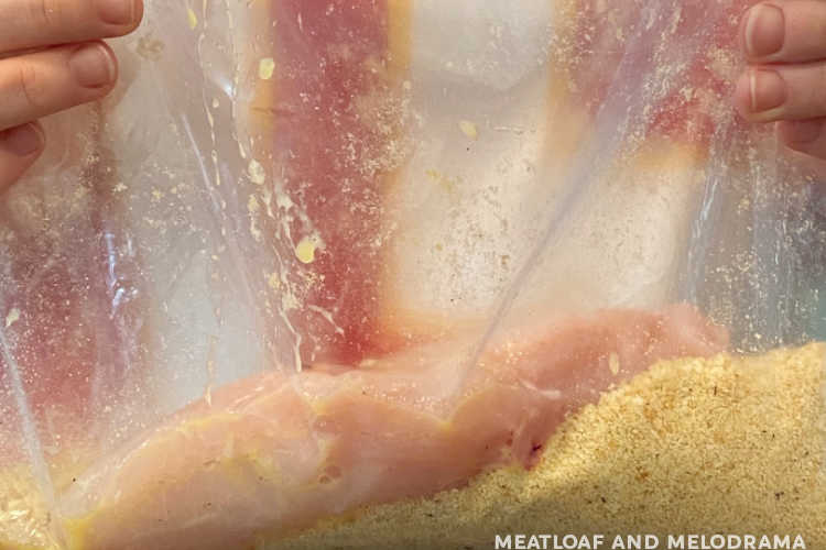 coat chicken breast in cracker crumbs in freezer bag