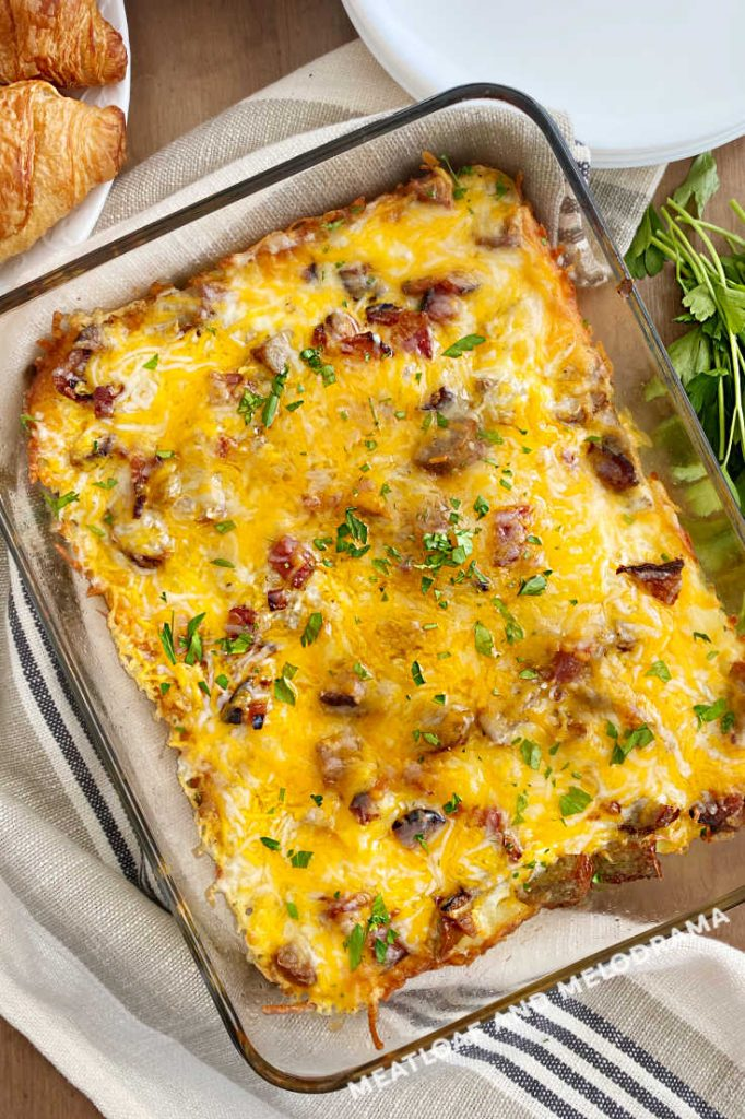 overhead view of baked sausage egg hashbrown potato casserole