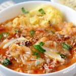 close up of instant pot cabbage roll soup