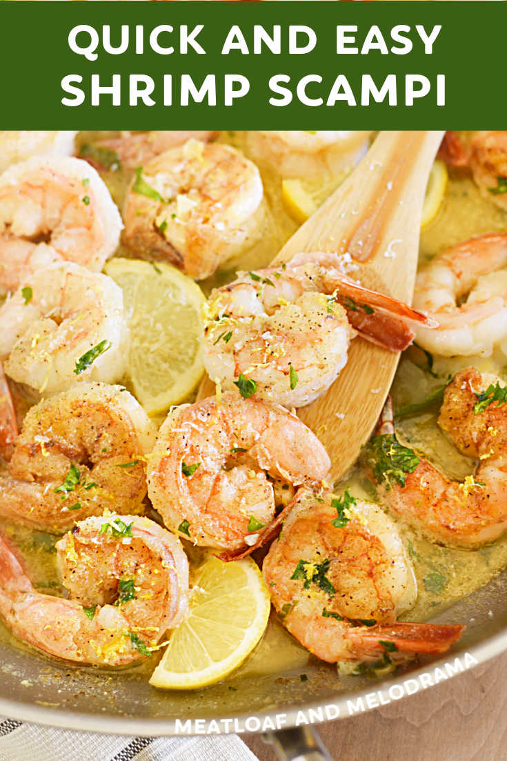 This Easy Shrimp Scampi Recipe with garlic, butter, lemon and wine takes just minutes to make from scratch. Serve with pasta for a delicious quick dinner!