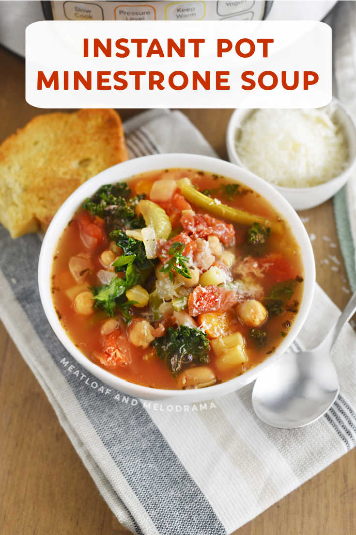 Instant Pot Minestrone Soup is an easy Italian vegetarian soup recipe made with fresh vegetables, beans and pasta in a light tomato broth. Perfect for a quick lunch or dinner!