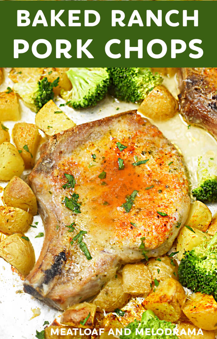 Baked Ranch Pork Chops and potatoes is a quick and easy dinner you make on one sheet pan in 30 minutes. You just need 6 ingredients for this recipe!