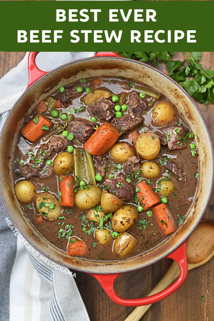 The Best Beef Stew Recipe made with tender cuts of chuck, carrots, potatoes and red wine cooks low and in a Dutch oven for maximum flavor. Easy comfort food!