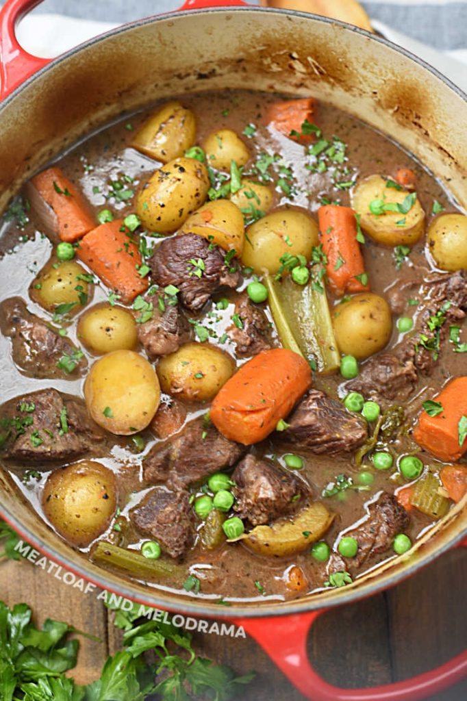 beef burgundy stew in red dutch oven