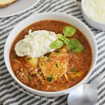 bowl of instant pot lasagna soup