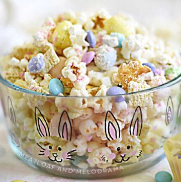 bunny bait popcorn in a bunny bowl