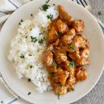 bourbon chicken and jasmine rice on a plate with parsley flakes