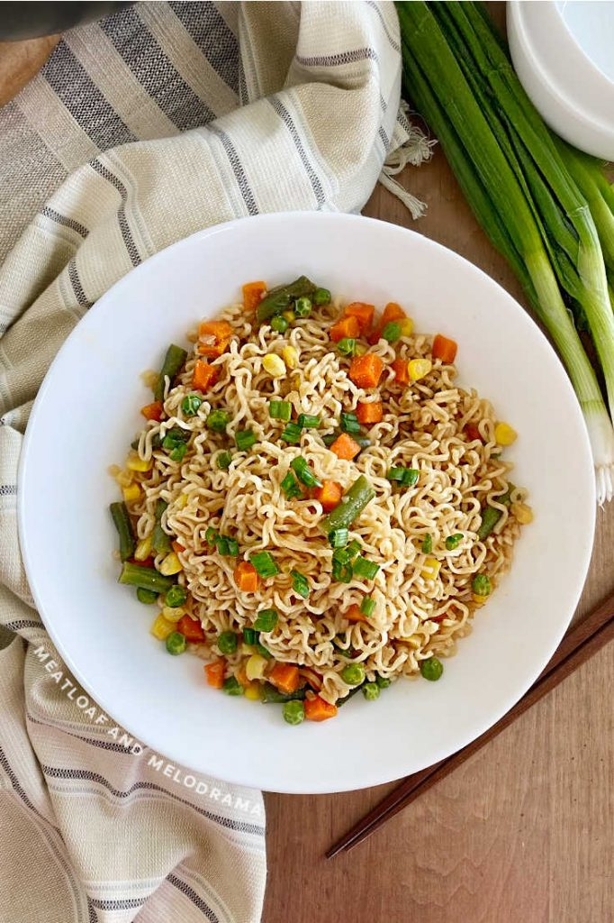 easy ramen noodle stir fry with vegetables in white bowl