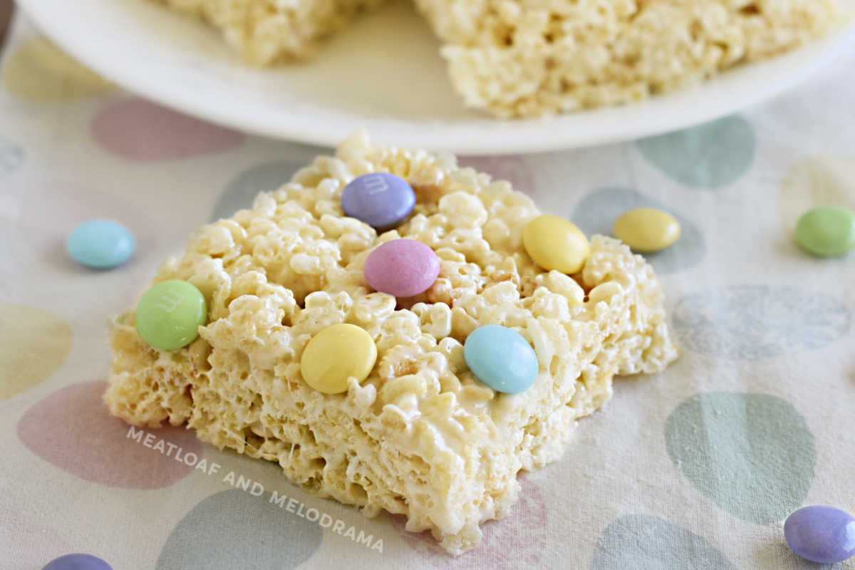spring marshmallow krispie treat with pastel m and m candies on top